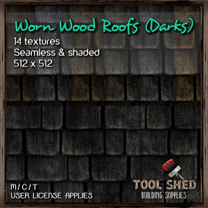Tool Shed - Worn Wood Roofs (Darks) Ad