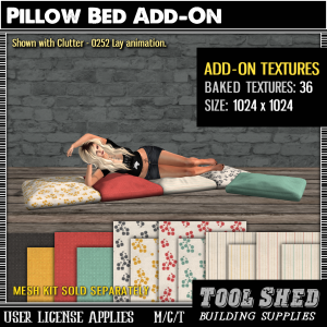 Tool Shed - Pillow Bed Add-On Textures Ad